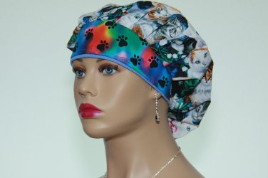 Bouffant Scrub Cap surgical Cap-Handmade-Medical Scrub Cap-Nurse Cap-Women's Hat-100% Cotton.