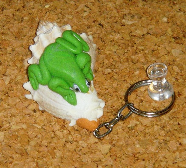 Frog on Shell Key Chain