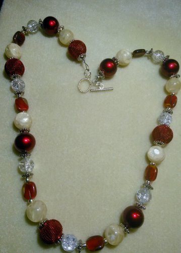 Necklace Red Silver