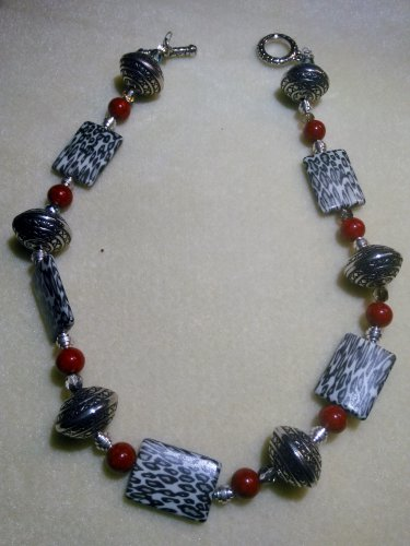 Necklace with Red, Black silver