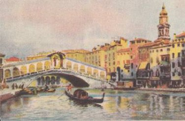 CJ79. Vintage Italian Postcard. The Rialto Bridge.Venice. Gondola.