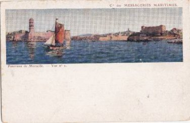 CJ46. Vintage Postcard. Panoramic view of Marseille. France.