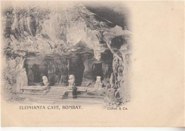 CN09.Vintage Undivided Postcard. Elephanta Cave, Bombay. India.