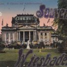 CJ76.Vintage German Postcard.Glittered Souvenir of Wiesbaden. Theatre