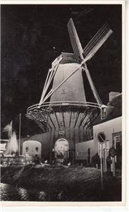 CO75.Vintage Dutch Postcard. The Mill Sluice. At Night.