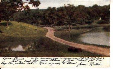 CO74.Vintage US Postcard. Greenwood Park. Des Moines, Iowa