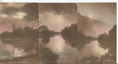 BZ055.Vintage Tinted Postcards x 6.Evening views of British Beauty Spots