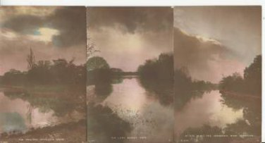 BZ055.Vintage Tinted Postcards x 6.Evening views of British Beauty Spots