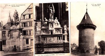 BZ085. Vintage Postcards X 3. Views of Rouen. France. Jeanne d'Arc