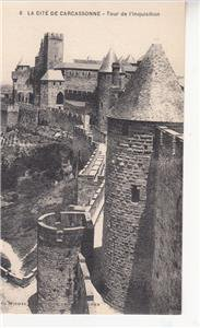 CO67.Vintage French Postcard. Tower of the Inquisition.Carcassonne, France