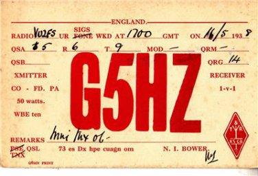CT28.Vintage QSL Card. G5H7. Dated 1938. Santa Cruz, India