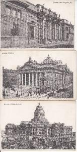 BZ061.Vintage Postcards x 3.Buildings in Brussels. Belgium
