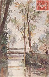 CK16.Vintage Postcard.The Bridge at Epau near Le Mans. France. Signed