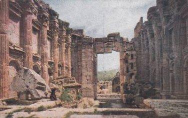 CK09. Vintage Postcard. Interior of the Temple of Bacchus, Baalbek, Lebanon.