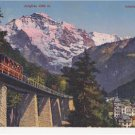 CM04.Vintage Swiss Postcard.  Interlaken-Harderbahn and Jungfrau. Funicular.