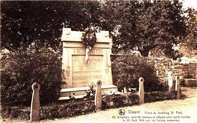 CL89 Vintage Postcard.Dinant war memorial. Belgium. 83 Civilian executions.
