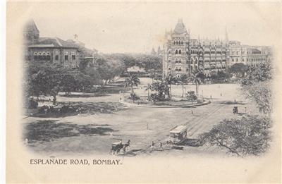 CM83.Vintage Undivided Postcard. Esplanade Road, Bombay. India.