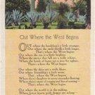 CM73.Vintage US Postcard. Poem. Out Where the West Begins.Censored passed.