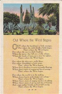 CM73.Vintage US Postcard. Poem. Out Where the West Begins.Censored passed.