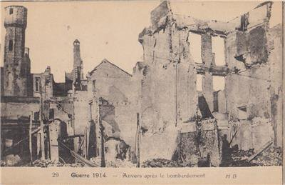 CR68. Vintage Postcard. Anvers - Belgium after the bombardment. WWI 1914