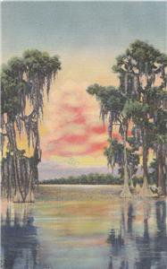 CJ58.Vintage US Postcard. Sunset on a Southern Lake.