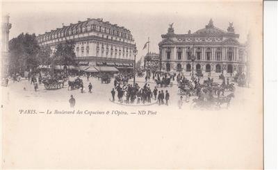 CO62.Vintage French Postcard. Le Boulevard des Capucines et l'Opera.Paris,France