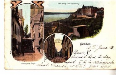 CO09.Vintage Postcard. Quebec, Canada. Breakneck Steps.Little Champlain Street.