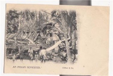 CN18.Vintage Undivided Postcard. An Indian Homestead. India.