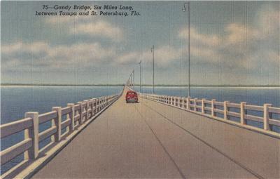 CJ74.Vintage US Postcard. Gandy Bridge, between Gandy and St Petersburg. Florida