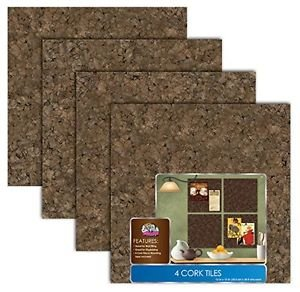 "Board Dudes 12"" x 12"" Dark Cork Tiles, 4-Pack (82VA-4), Free Shipping, New"