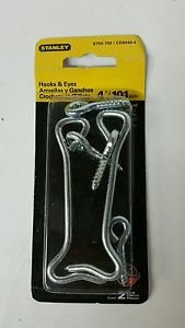 Stanley Hardware 750700 2 Count 4 in. Zinc Plated Gate Hooks & Eyes