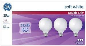 GE Lighting 69812 25-watt, 145-Lumen G25 Bulb with Medium Base, Soft White,