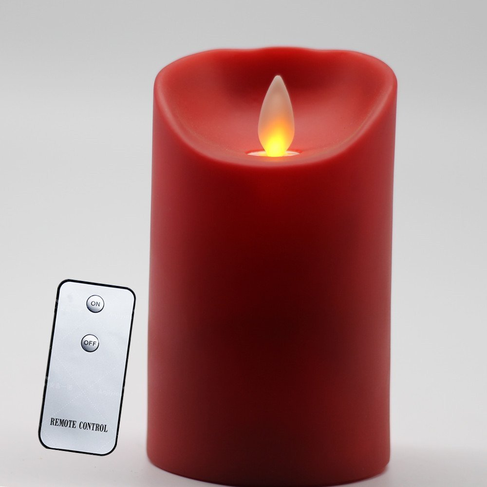Flameless Battery Operated Pillar LED Moving Wick Flame Candle Light, Remote Control, 3 x 5 Inch