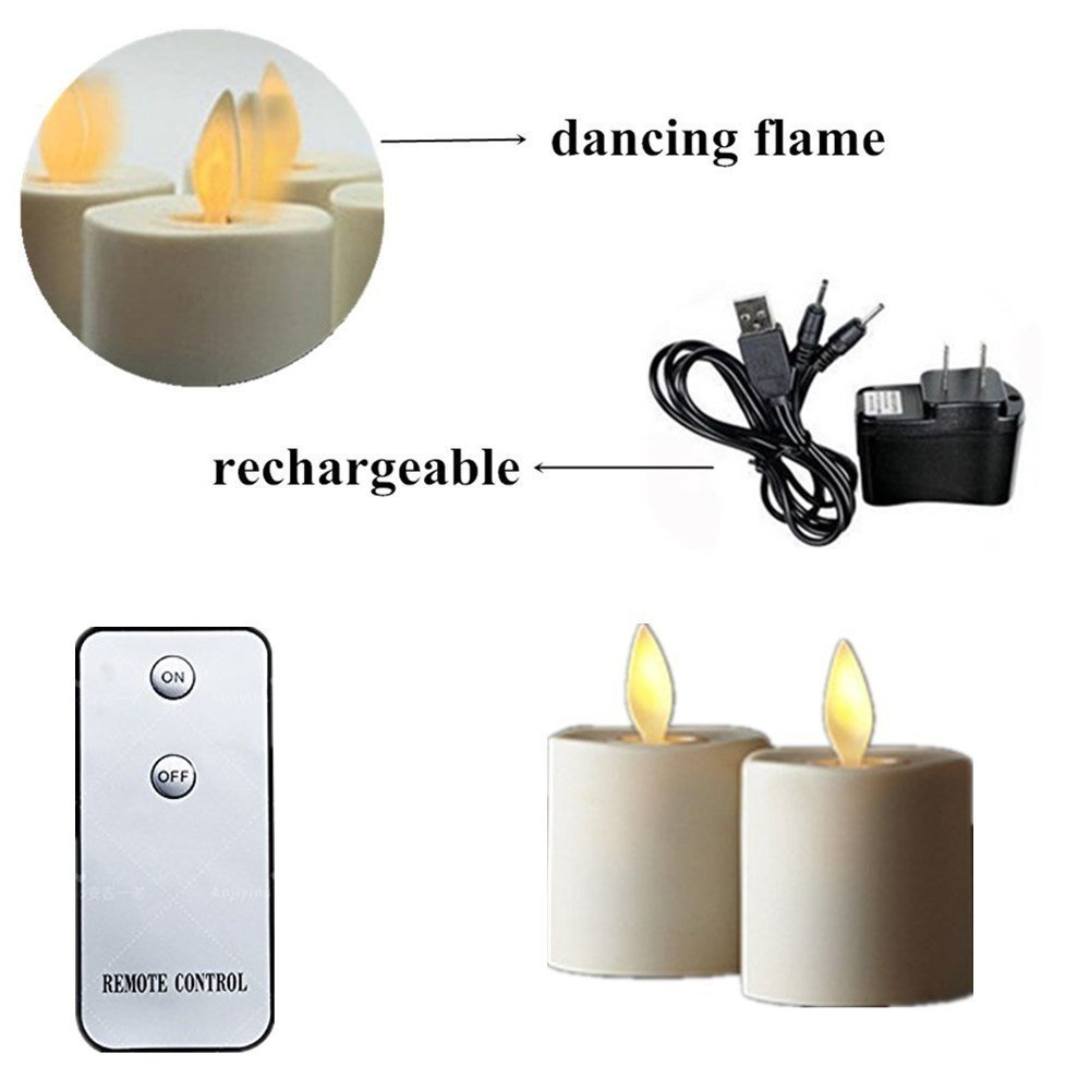 Moving Wick Flame LED Tealights with Remote Control Flameless Candles USB  Tea Lights, Set of 2