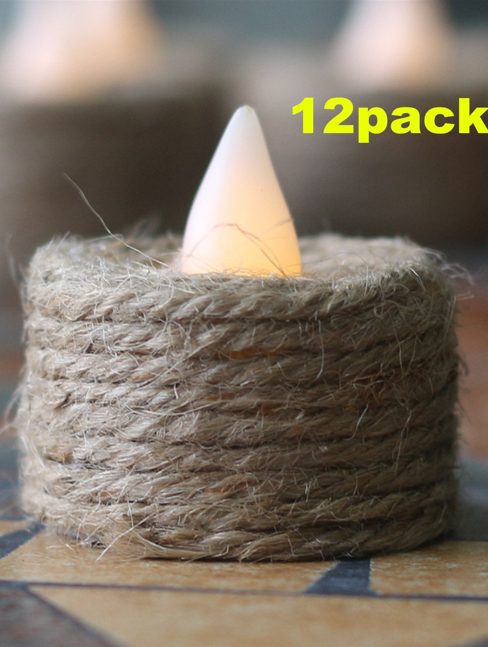 DIY Natural Hemp Rope Battery-powered Flameless LED Tealights Candles, Pack of 12