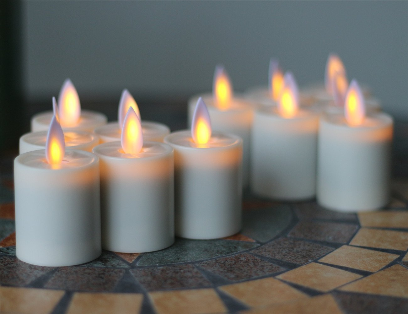 """Remote Ready 1.5"""" X 2.6"""" Dancing Flame Pillar LED Tea Lights Candles,SET OF 12"""