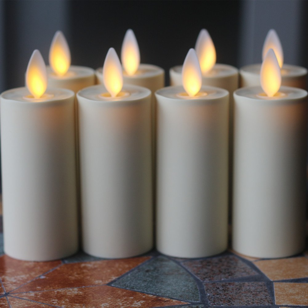 "8PACK Moving Wick LED Candles 1.75"" � 3"" flameless Votive candles W/RC"