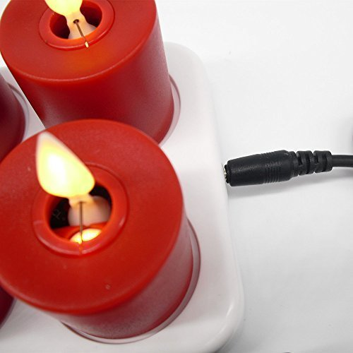 Moving Wick 1.5*2.5 inch Red Flameless mini LED Candle with Timer ,Set of 6