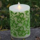 1 Pcs Green Home Decorations Moving Wick Flameless Led Candle with Remote Control