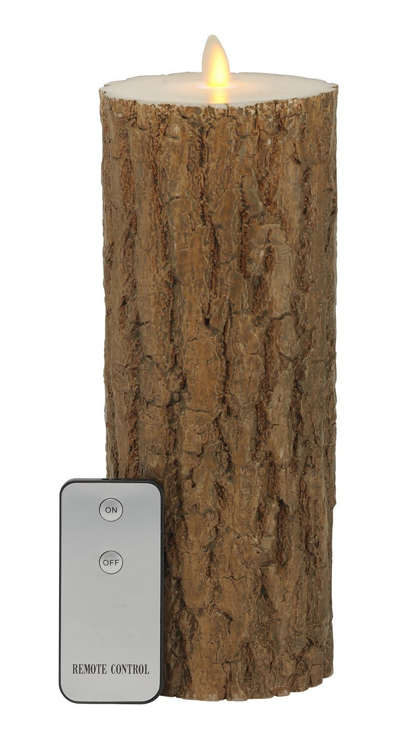 9inch Bark Flameless Wax Battery Operated LED Candles with Remote Control