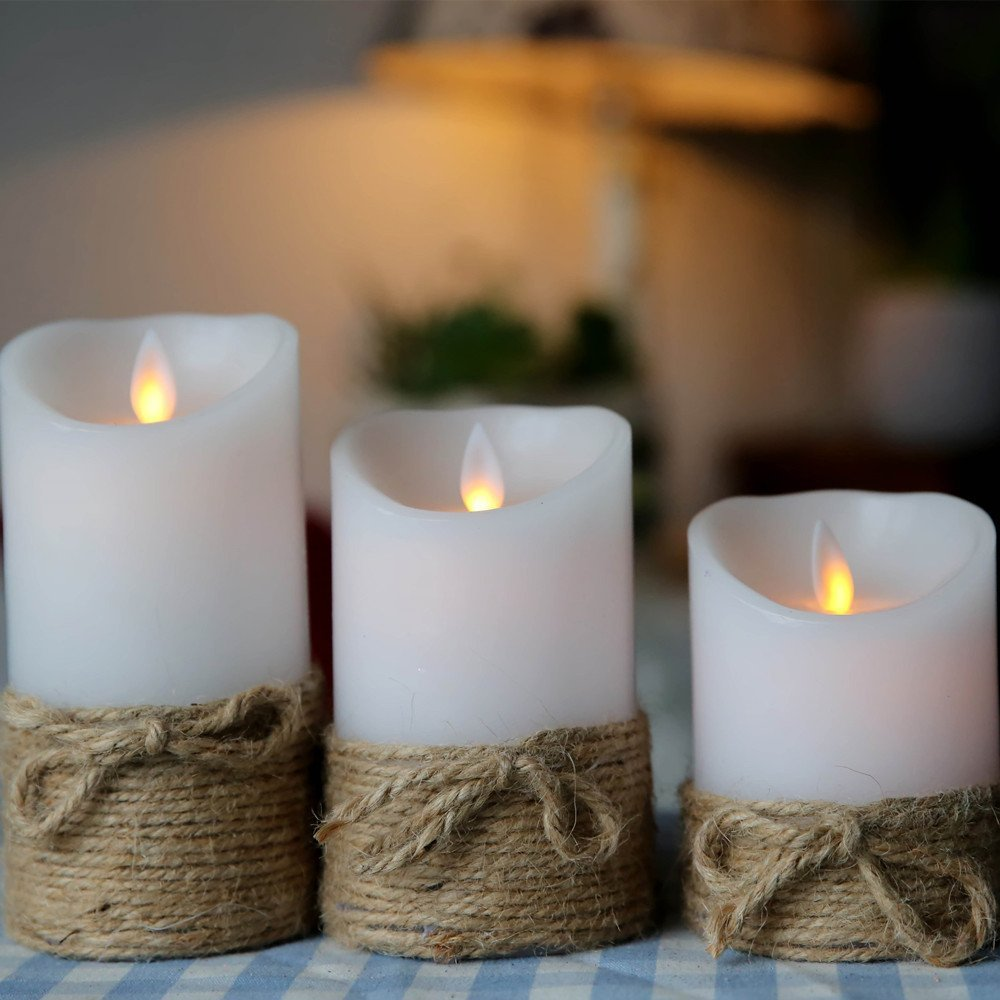 Christmas Table Dinner Decoration Moving Wick Flame Wireless Remote Control Led Candle (3*4''&5&6)