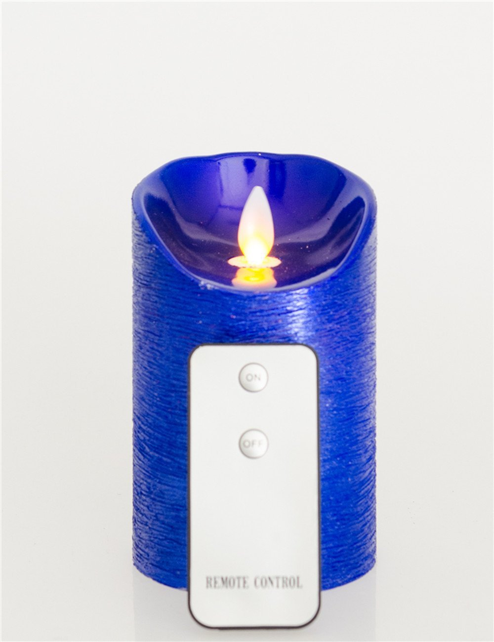 Home Party Decorations Flameless Moving Wick Led Candle with Remote Control (blue, 3.2*5'')