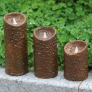 Primitive Home Decorations Chotolate Moving Wick Flameless Led Wax Candle (3.5*5''&7''&9'')