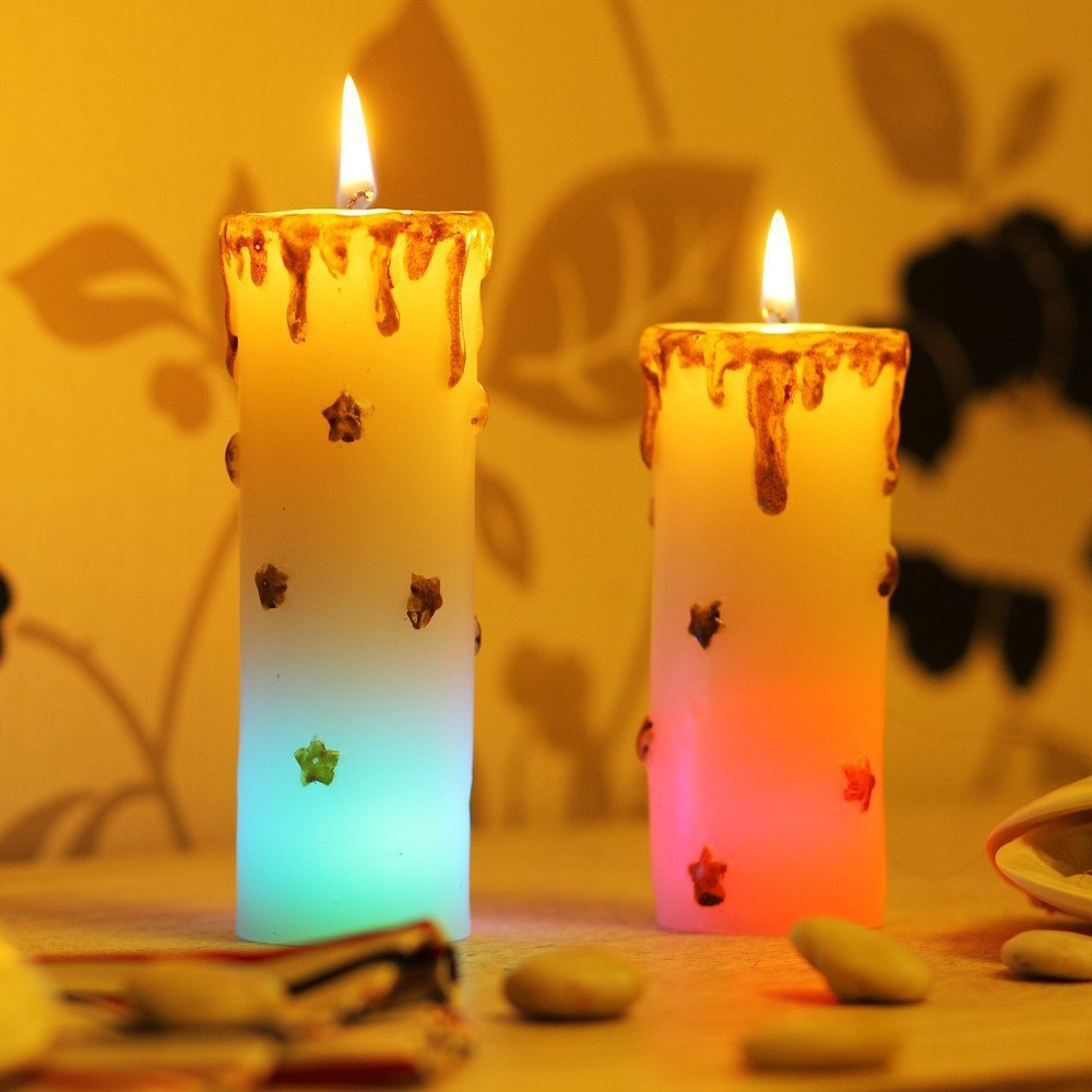 Set of 2 Christmas Supplies LED Decorative Flickering Color Changing Candle with Real Flame