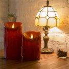 Set of 2 Flameless Pillar Moving Wick Candle with Remote Control and Timer (red)