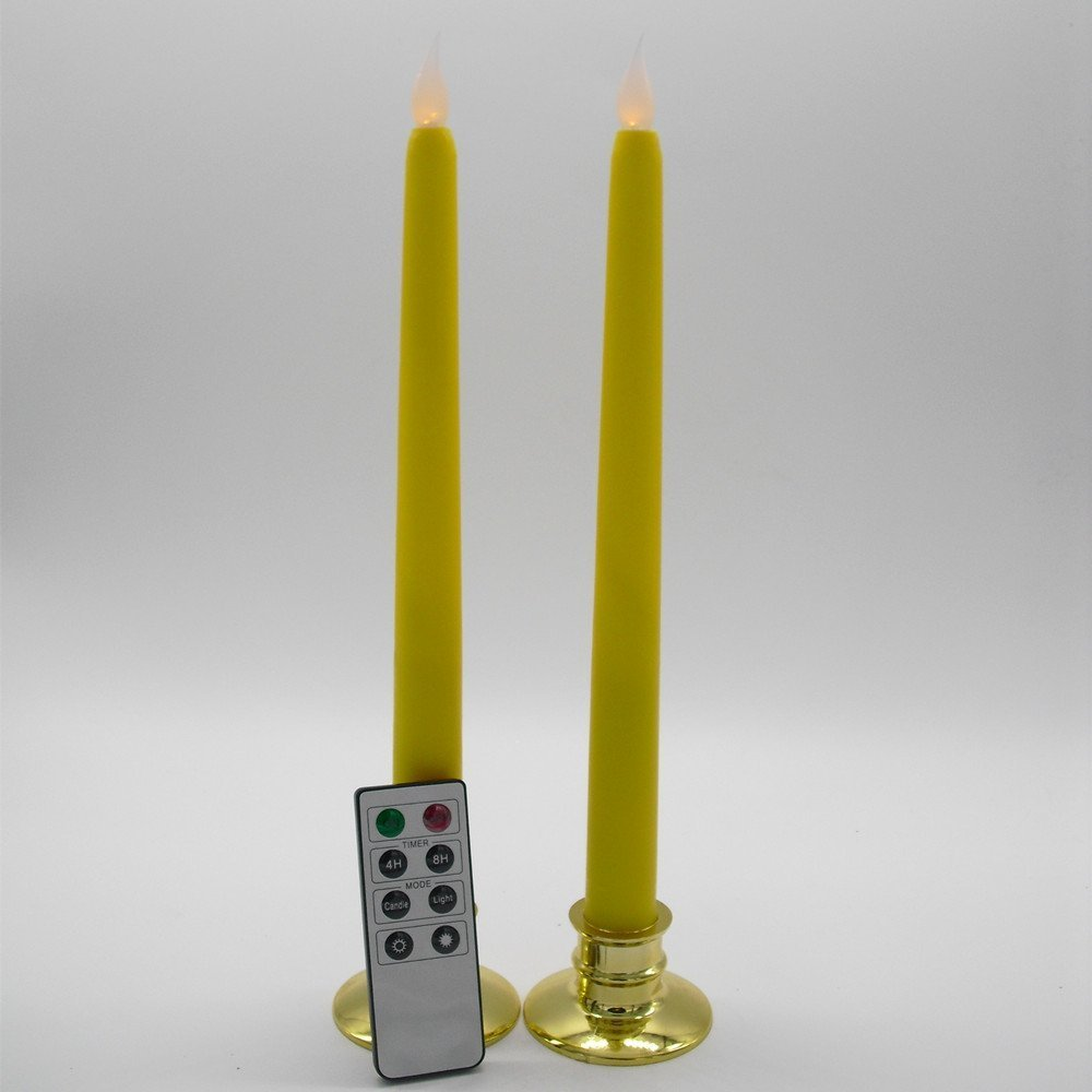 Set of 2 Remote Control Flameless Yellow Flickering LED Taper Candle with Holder
