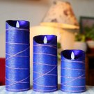 Wax Flameless Moving Wick Candle with Remote Control ,Battery Not Included (blue, 3.2*5''&7''&9'')