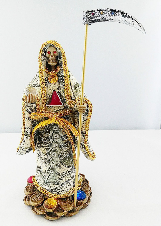 10.5 Inch Statue of La Santa Muerte Dinero Holy Death Grim Reaper Money Imagen