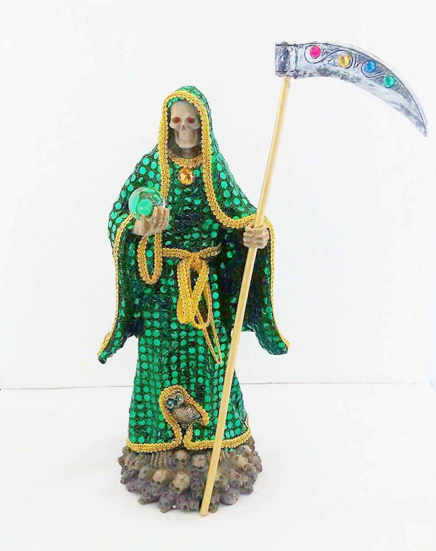 14 Inch Statue of La Santa Muerte Verde Holy Death Grim Reaper Green Imagen