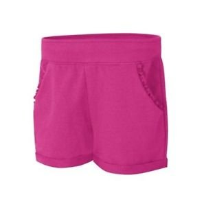 Hanes Girls' CottonSummer Ruffle Pocket Shorts in Amaranth, Size Medium KOK263
